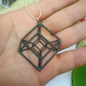 Tesseract Hypercube Sacred Geometry Pendant Necklace + 10% Donation