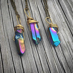 Healing Titanium Rainbow Aura Quartz Pendant Necklace