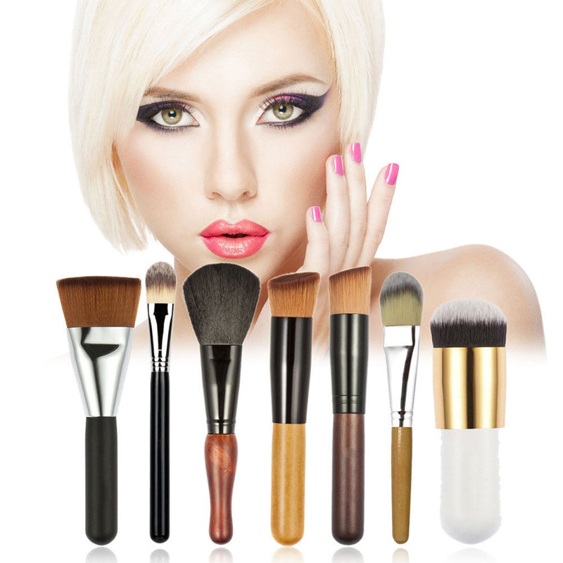7 Piece - Pro Makeup Powder Foundation Eyeshadow Lip Set
