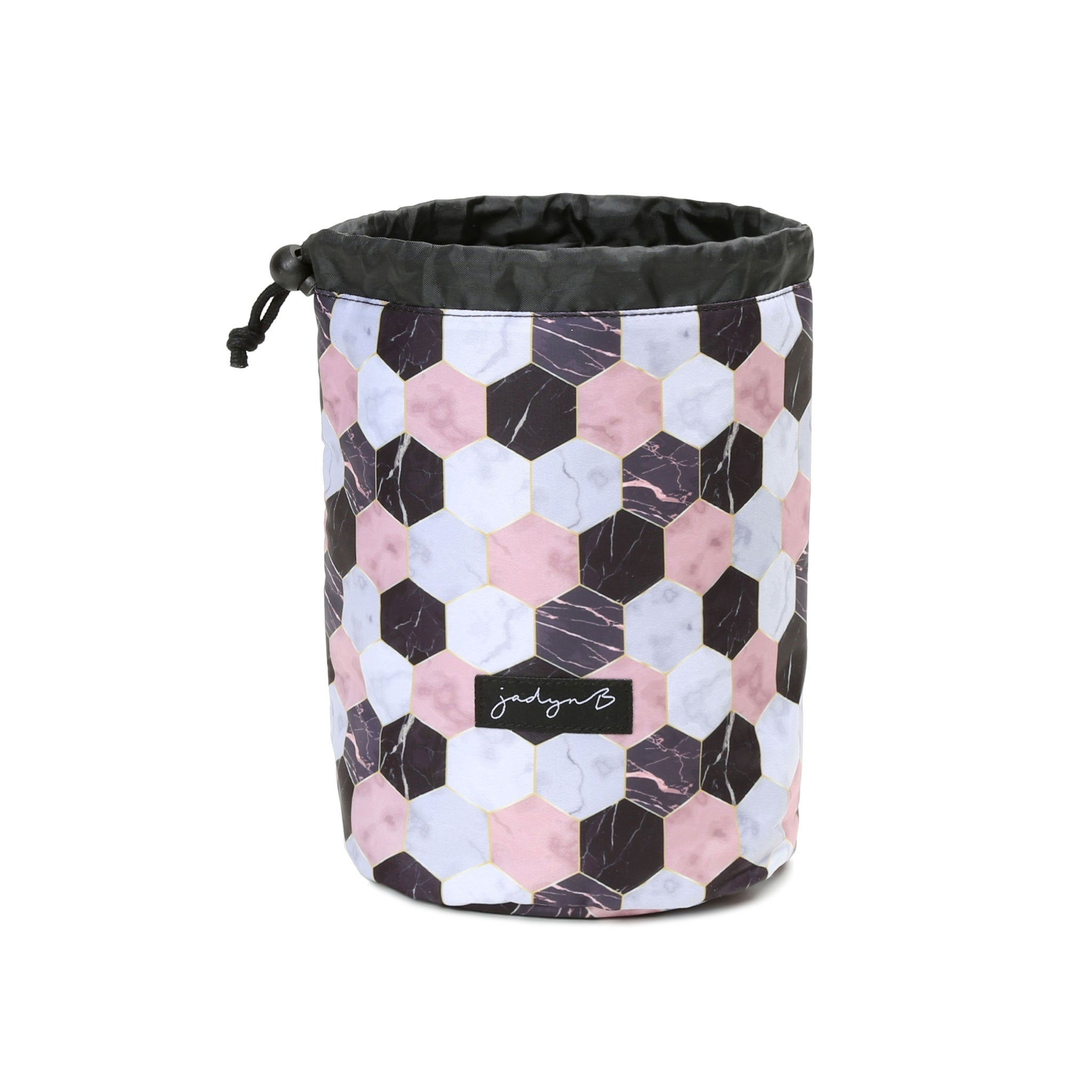 Cosmetic Cinch Bag - Marble Hex
