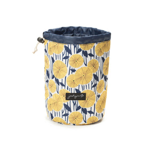 Cosmetic Cinch Bag - Yellow Flowers