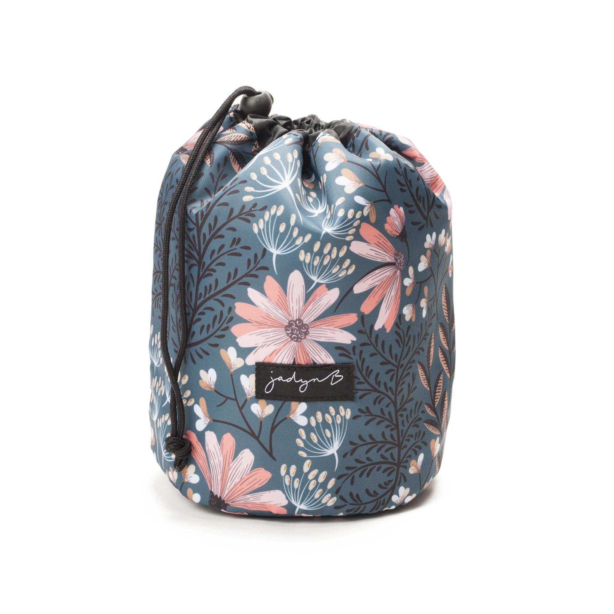 Cosmetic Cinch Bag - Navy Floral