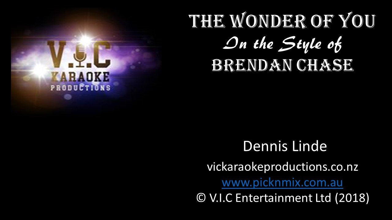 Brendan Chase - The Wonder of you - Karaoke Bars & Productions Auckland