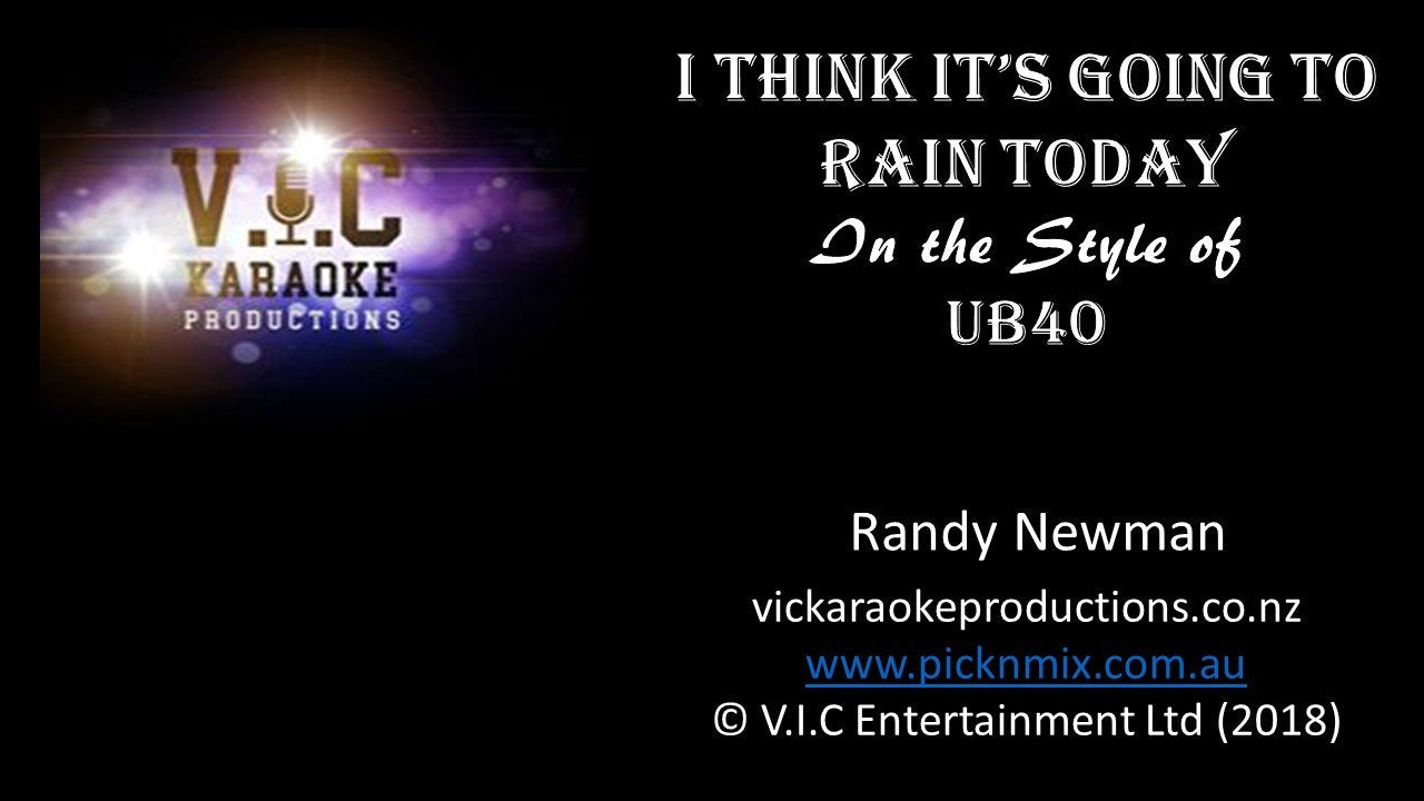 UB40 - I think it's going to Rain Today - Karaoke Bars & Productions Auckland