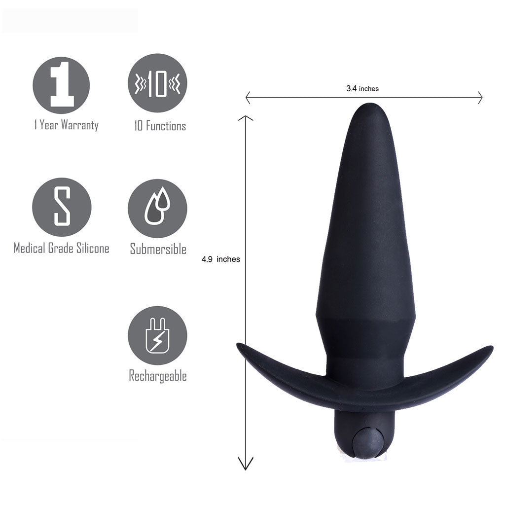 CODY USB Rechargeable Silicone 10-Function Vibrating Anal Plug