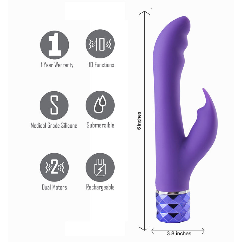 HAILEY Crystal Gems USB Rechargeable Silicone 10-Function G-Spot Vibrator Purple