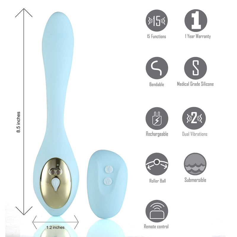 HARMONIE 15-Function USB Rechargeable Remote Control Bendable Couples Vibrator
