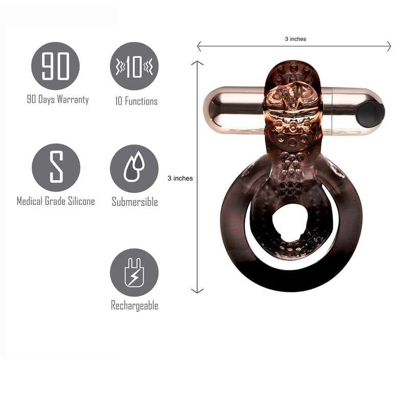 JAYDEN USB Rechargeable Vibrating Erection Enhancer Ring ROSE GOLD