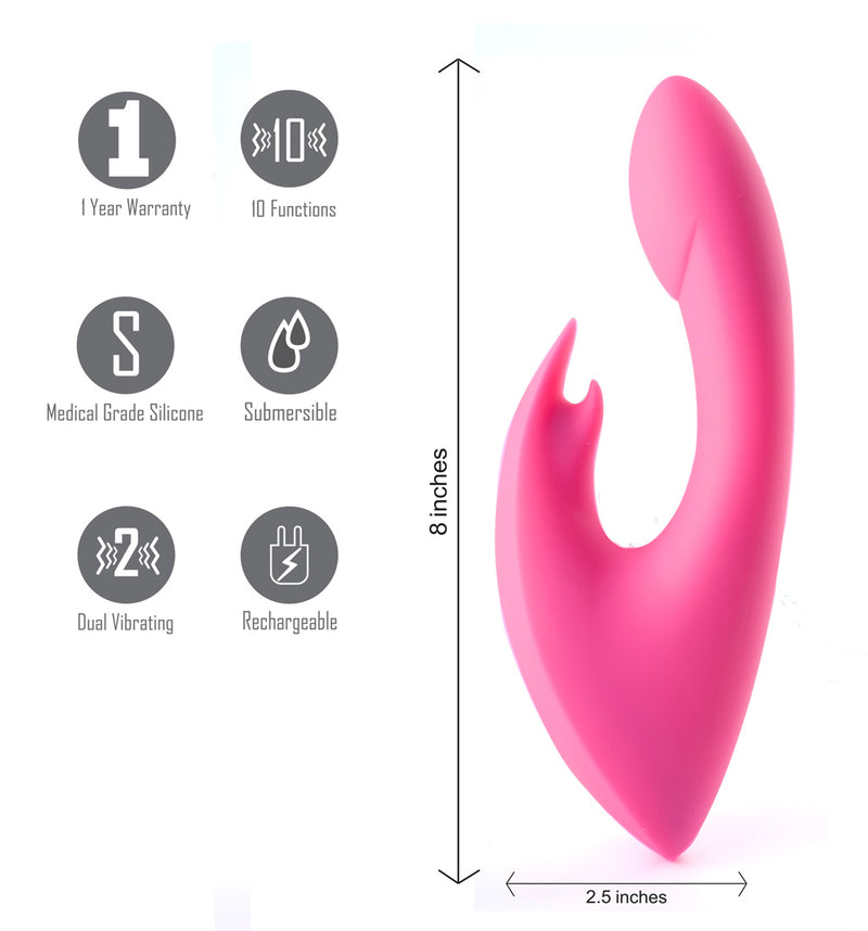 LEAH USB Rechargeable Silicone 10-Function Rabbit Vibrator Pink