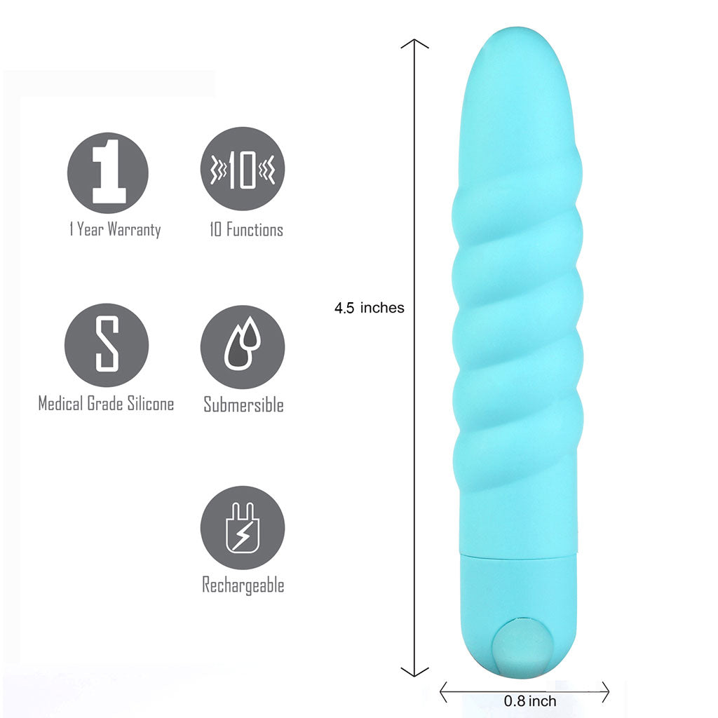 LOLA USB Rechargeable Silicone 10-Function Vibrating Twisty Bullet Blue