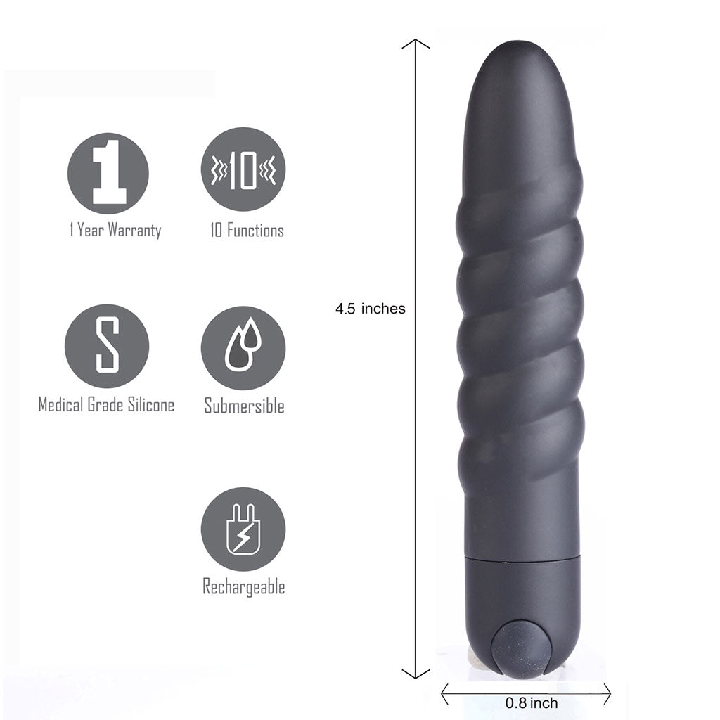 LOLA USB Rechargeable Silicone 10-Function Vibrating Twisty Bullet Black