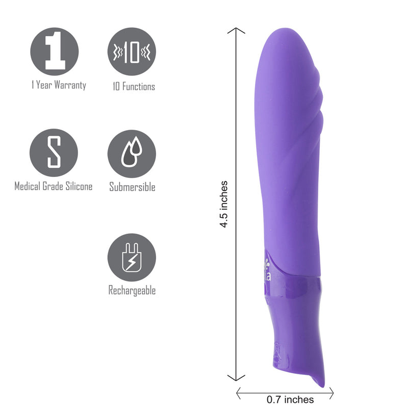 MARGO USB Rechargeable Silicone 10-Function Textured Bullet Vibrator - NEON PURPLE