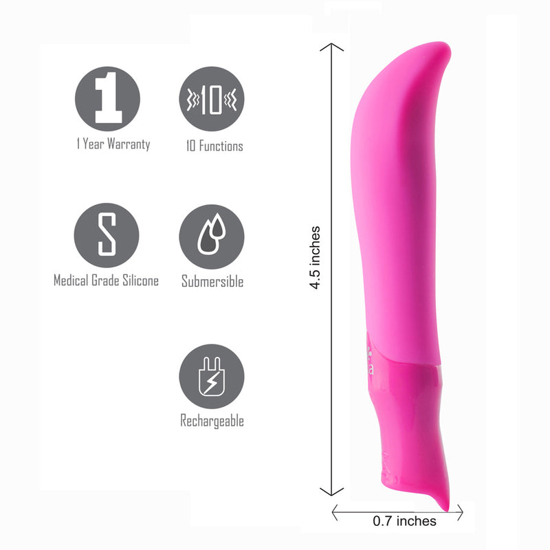 MADDIE USB Rechargeable Silicone 10-Function G-Spot Bullet Vibrator - NEON PINK