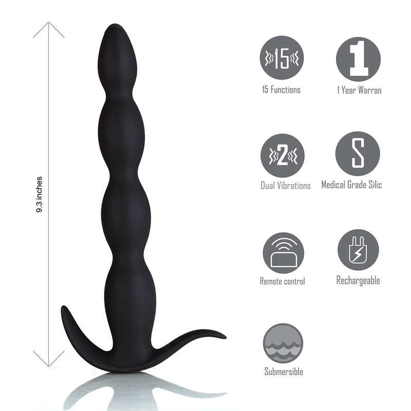 MASON 15-Function USB Rechargeable Remote Control Silicone Butt Plug