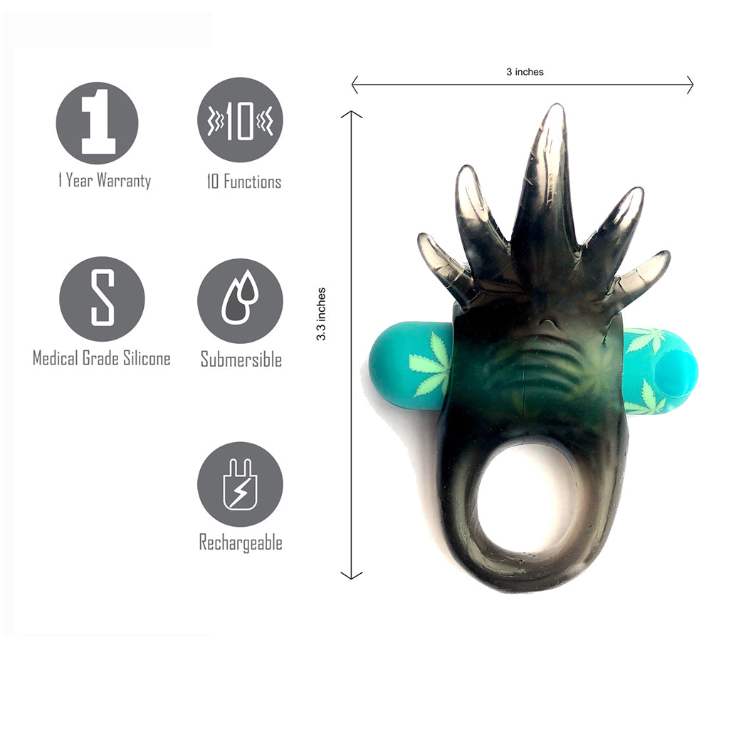 ZIGGY POT LEAF USB Rechargeable Vibrating Erection Enhancer Ring