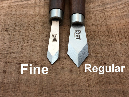 IBC regular and fine striking knives side by side