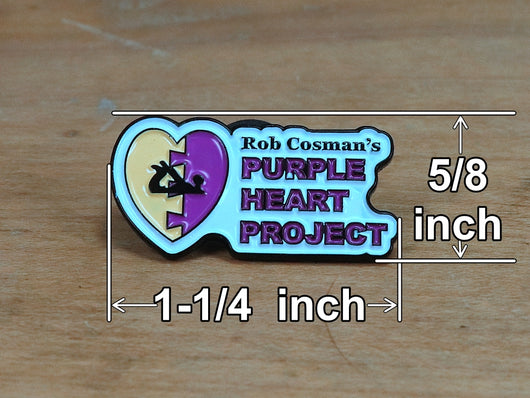 Purple Heart Project label pin measuremnts
