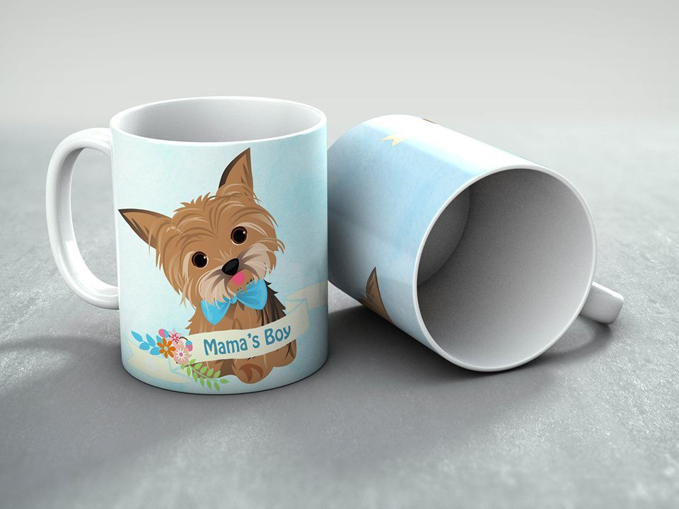 Mama's Boy MUG - Yorkie Coffee Cup - Original Design - Dog Lover Gift