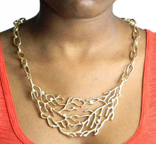 Statement Gold Branch Pendant Chain Necklace