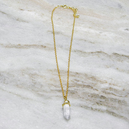 White Turquoise/ Marble Crystal Stone Pendant Necklace