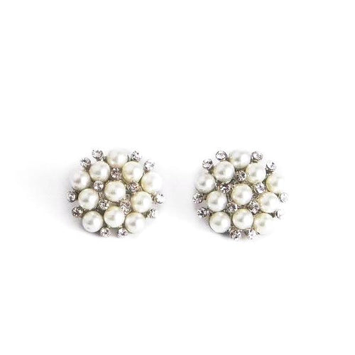 Cluster Pearl Glass Stone Stud Earrings