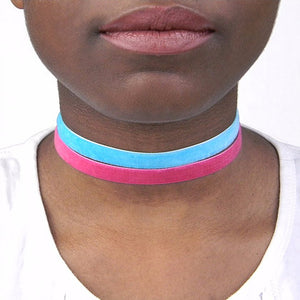 Candy Suede Choker with Turquoise and Pink