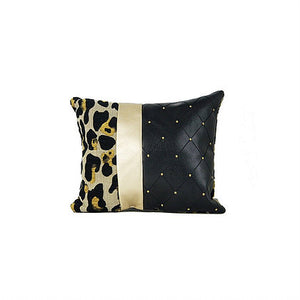 Tweed Leopard Print Black Leather Pillow