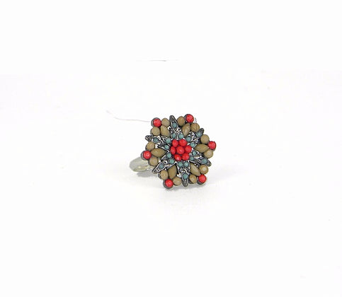 Red Beaded Cluster Ring
