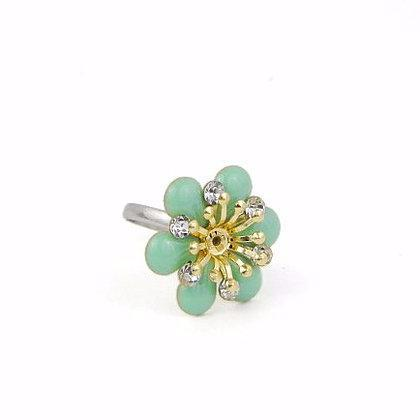 Teal Floral Ring with Gold Detailing