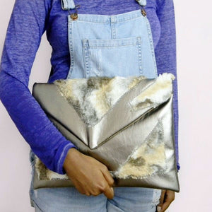 Gunmetal Pewter Leather Patch Worked Neutral Fur Envelope Clutch Bag