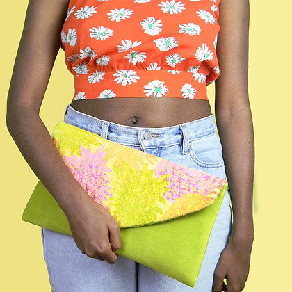 Neon Pineapple Envelope Clutch Bag