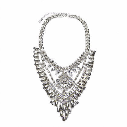 Statement Silver Crystal Necklace