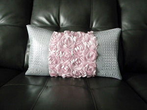 Two Rose Pink Silver Croc-Embossed Pillow Set