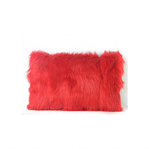 Decorative Red Faux Fur Pillow with Burgundy Vegan Leather Back