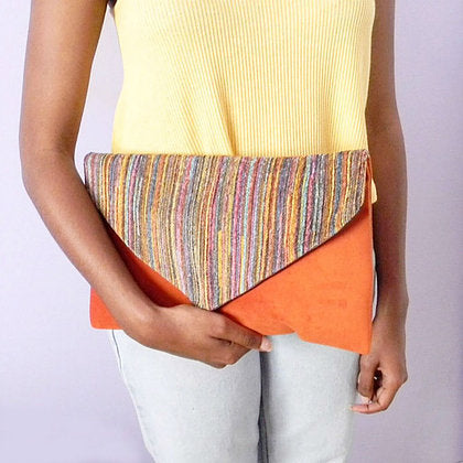 Orange Suede Mulitcolored Tweed Envelope Clutch Bag