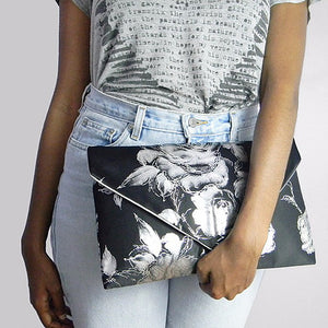Black & Silver Silk Floral Envelope Clutch Bag