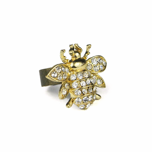 Statement Gold Rhinestone Insect Ring