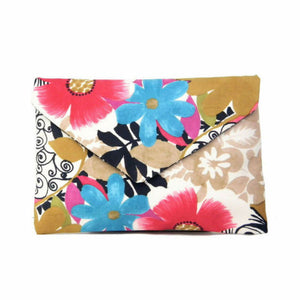 Multicolored Floral Envelope Clutch Bag
