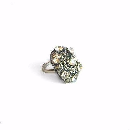 Bronze Rhinestone Turtle Shell Ring