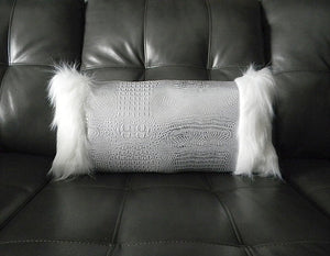 Silver Croc-Embossed White Fur Pillow