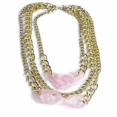 Statement Pink Gold Layered Necklace
