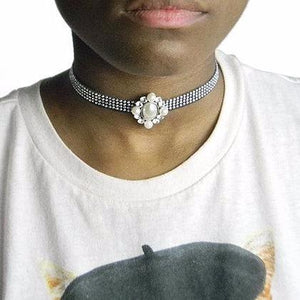 Pearl Black and Silver Studded Choker