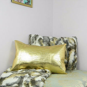 Gold Crocodile Embossed Leather Pillow