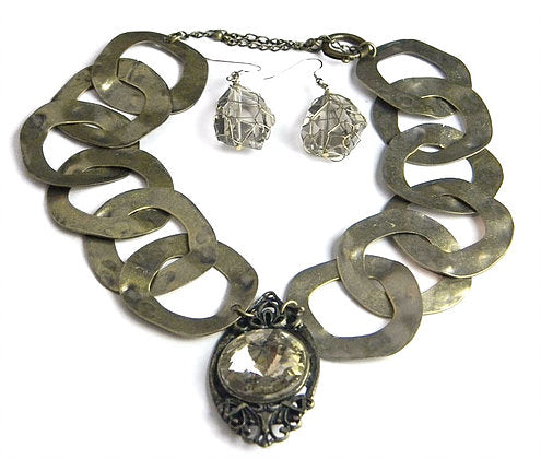Antique Bronze Crystal Necklace Earring Set