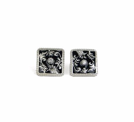 Square Floral Silver Earrings | Black