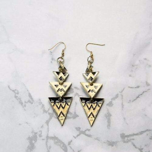 Black & Gold Geometric Earrings