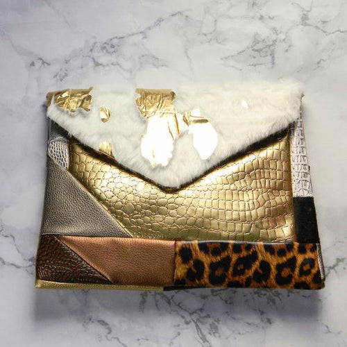 Gold Cowhide Patch Envelope Clutch Bag