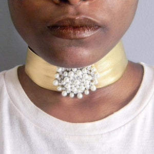 Gold Leather Pearl Choker