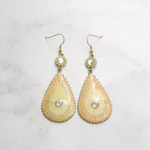 Gold Glass Stone Pink Teardrop Earrings