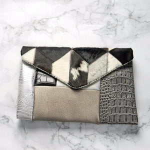 Cowhide Patchwork Envelope Clutch Bag